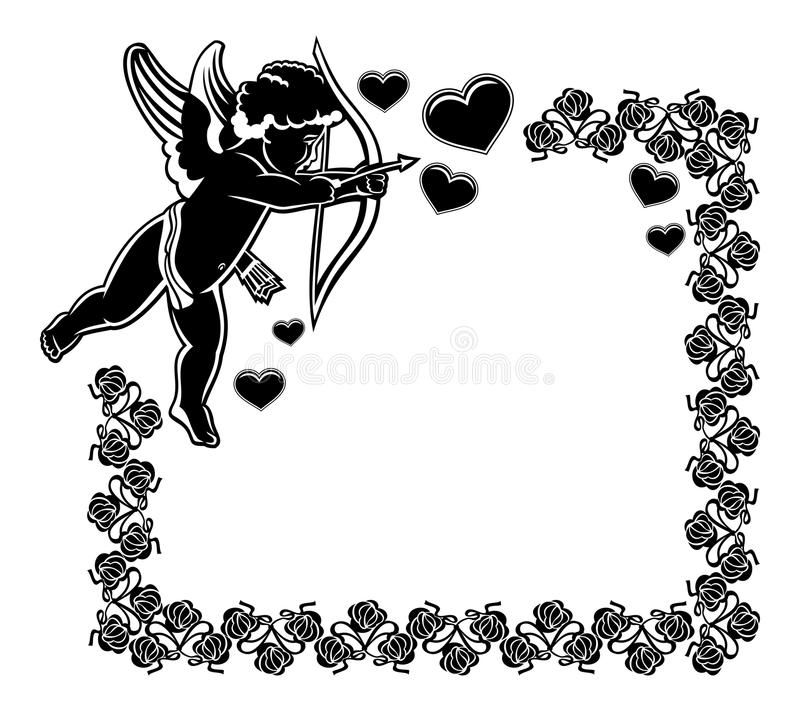Cupid with bow hunting for hearts. Raster clip art. Cupid with bow hunting for hearts. Black and white frame with silhouettes of Cupid, roses and hearts. Design royalty free illustration