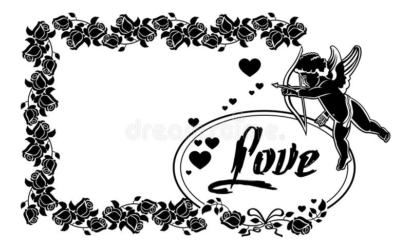 Cupid with bow hunting for hearts. Raster clip art. Cupid with bow hunting for hearts. Black and white frame with silhouettes of Cupid, roses and hearts. Design vector illustration