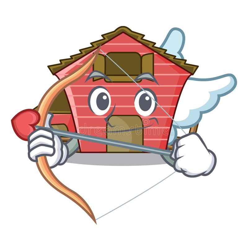 Cupid character red barn building with haystack. Vector illustration royalty free illustration
