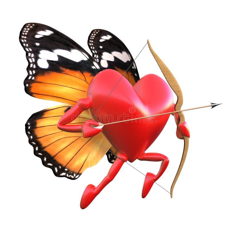 Cupid com asas da borboleta. ilustração stock