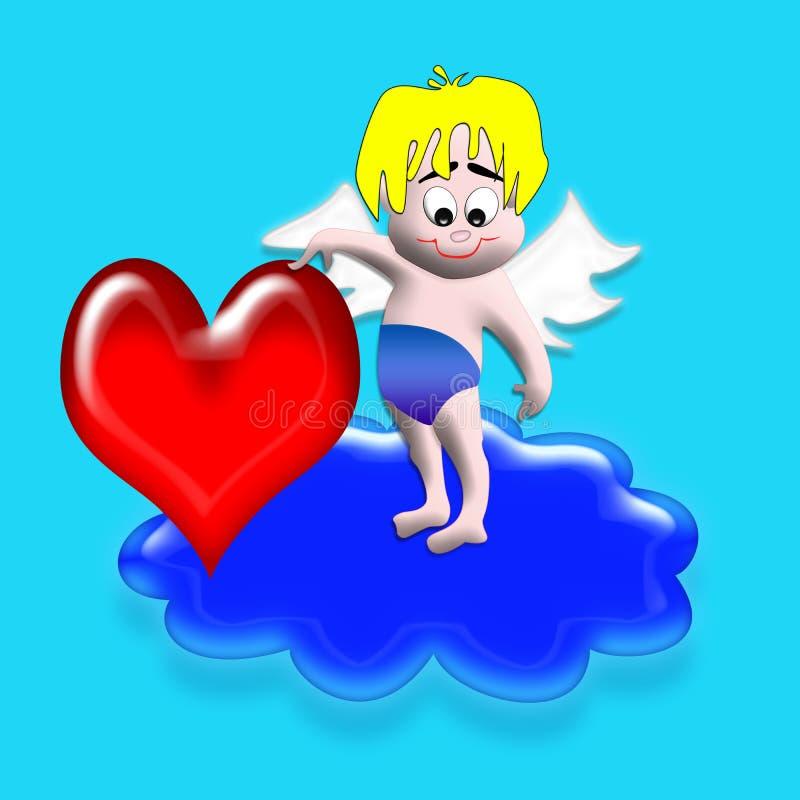 Cupid com coração ilustração stock