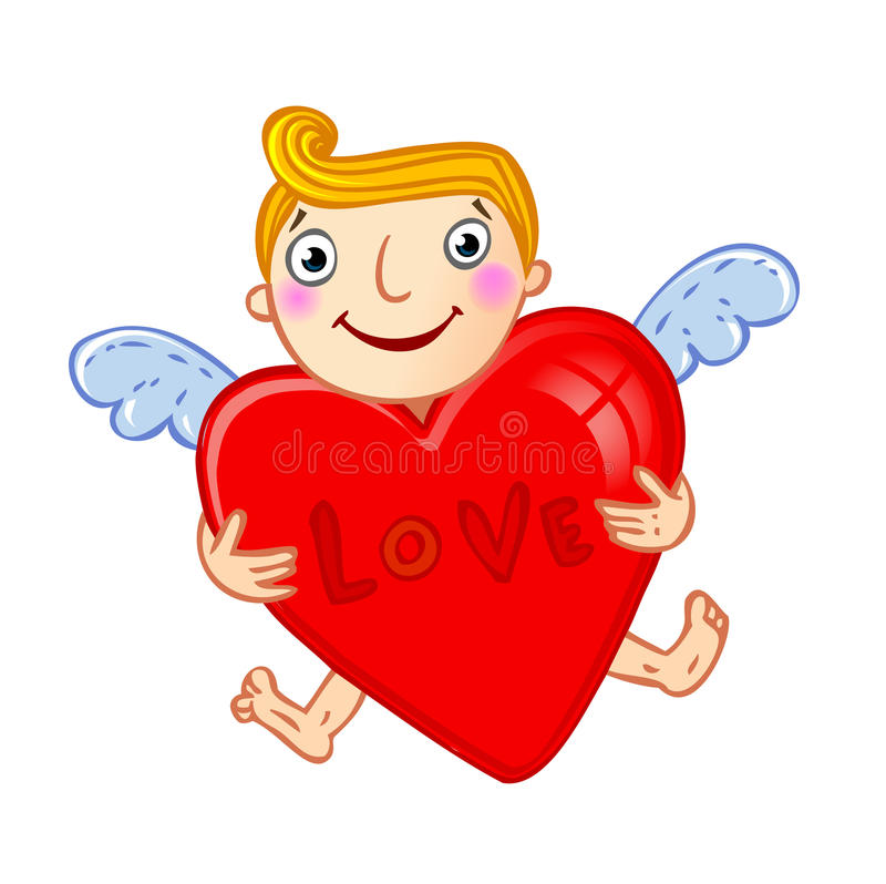 Cupid com coração. ilustração do vetor
