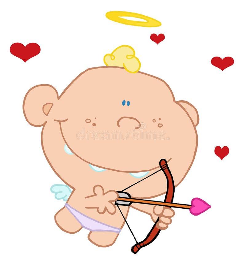 Cupid com curva e seta ilustração royalty free