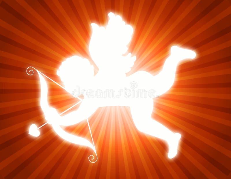 Cupid com curva e seta ilustração stock