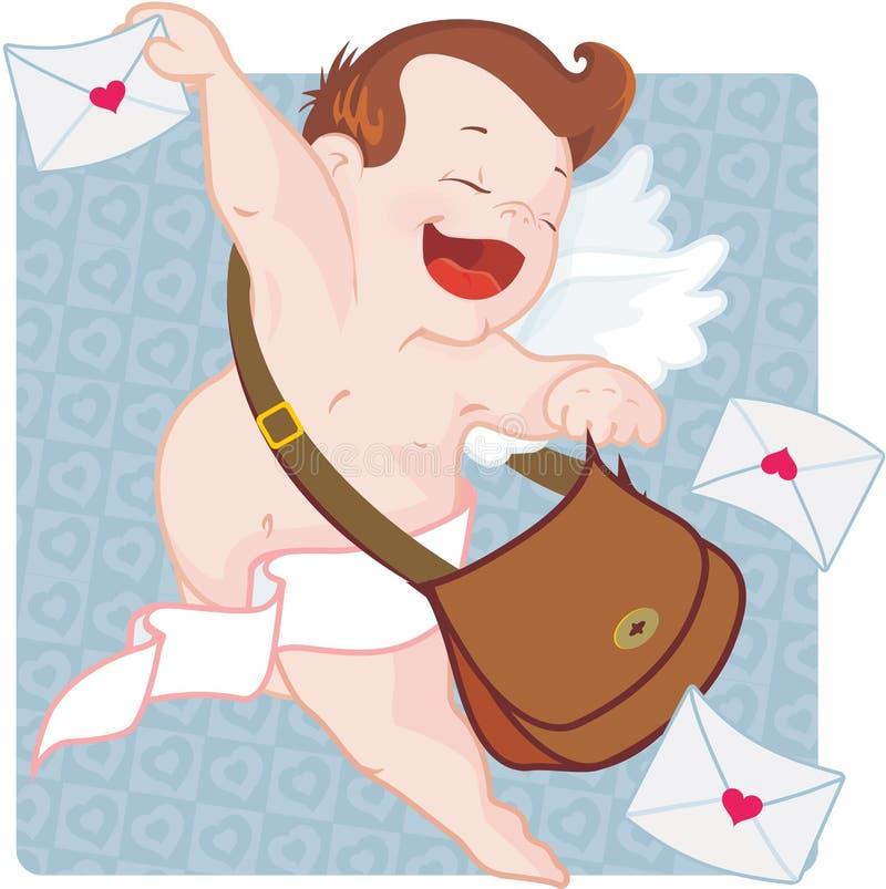 Cupid com letras de amor ilustração royalty free