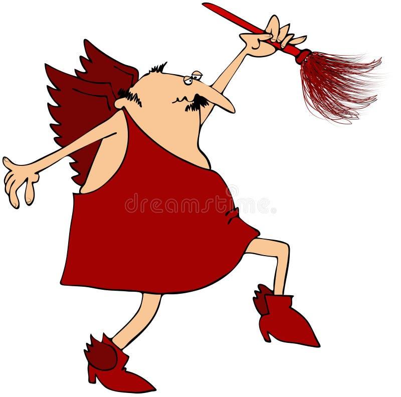 Cupid com um espanador da pena ilustração royalty free