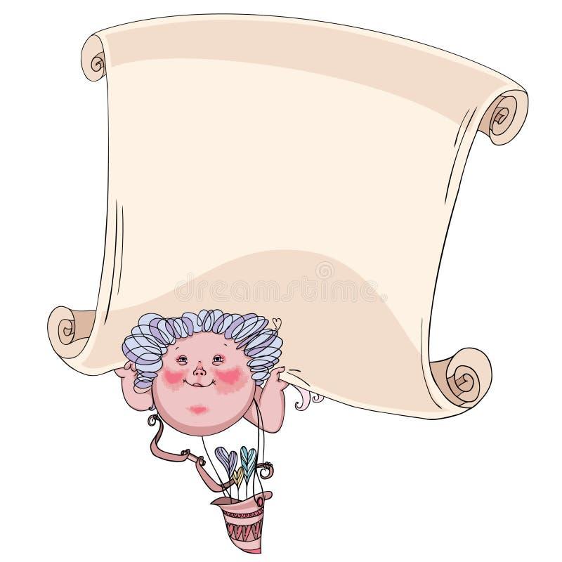 Cupid com uma mensagem ilustração stock