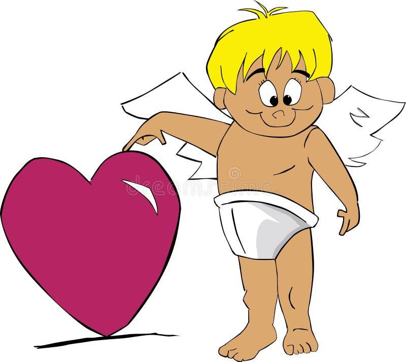 Cupid con cuore illustrazione vettoriale