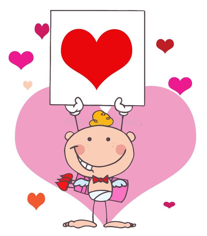 Cupid da vara dos desenhos animados com coração da bandeira ilustração royalty free