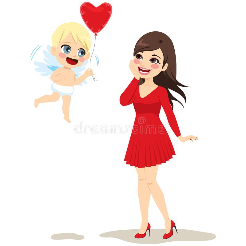 Cupid Delivering Love. Cute little cupid angel delivering red heart balloon to lovely young surprised woman love concept royalty free illustration