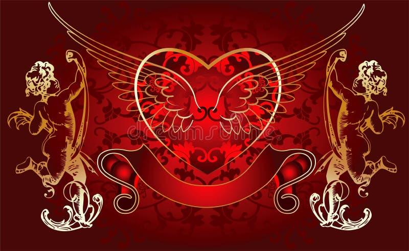 Cupid dourado do fundo vermelho ilustração stock