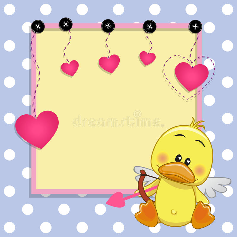 Cupid Duck with frame stock vector. Illustration of holiday - 52352619