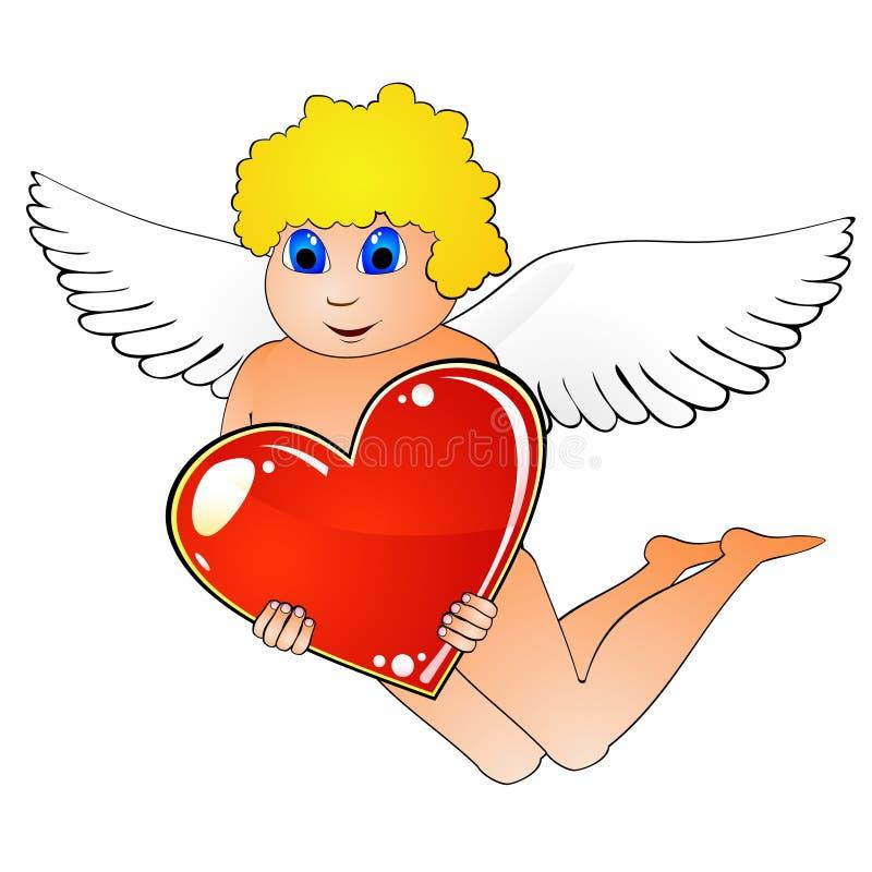 Cupid e coração vermelho ilustração stock