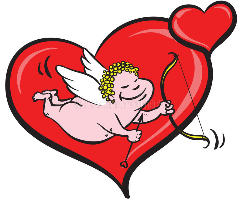 Cupid e corações ilustração stock