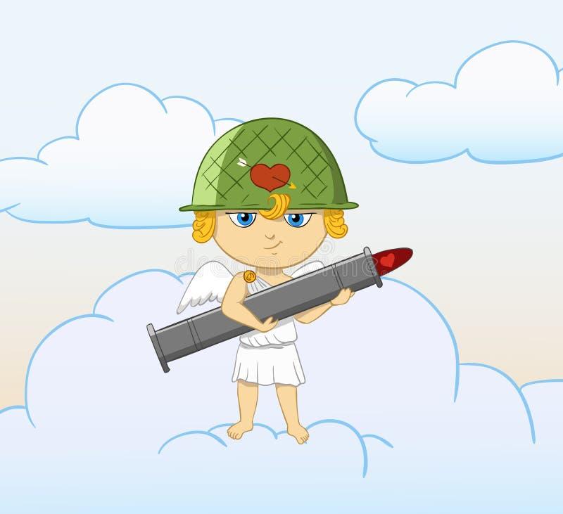 Cupid Engraçado Dos Desenhos Animados Com O Bazooka Armado Do Valentim Imagem de Stock Royalty Free