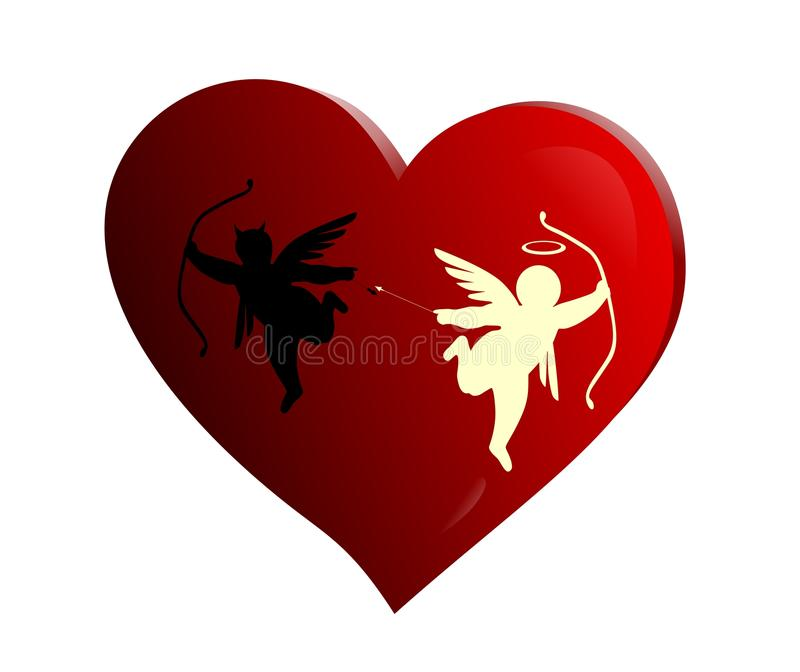Cupid fighting vector illustration