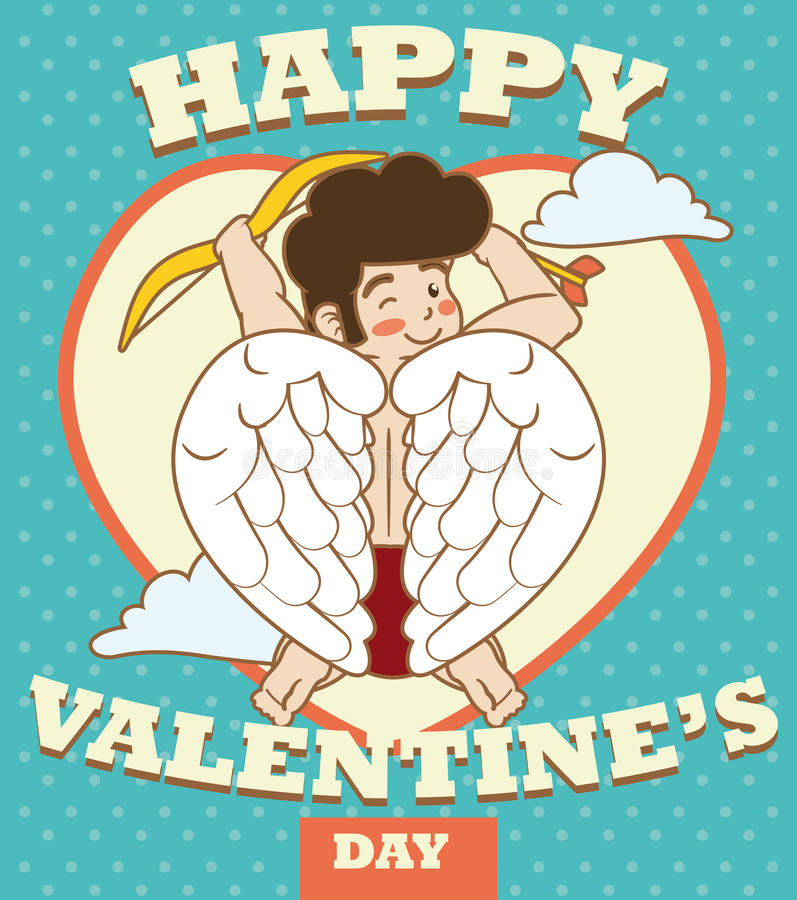 Cupid Flying Across the Sky in Valentine's Day, Vector Illustration stock image