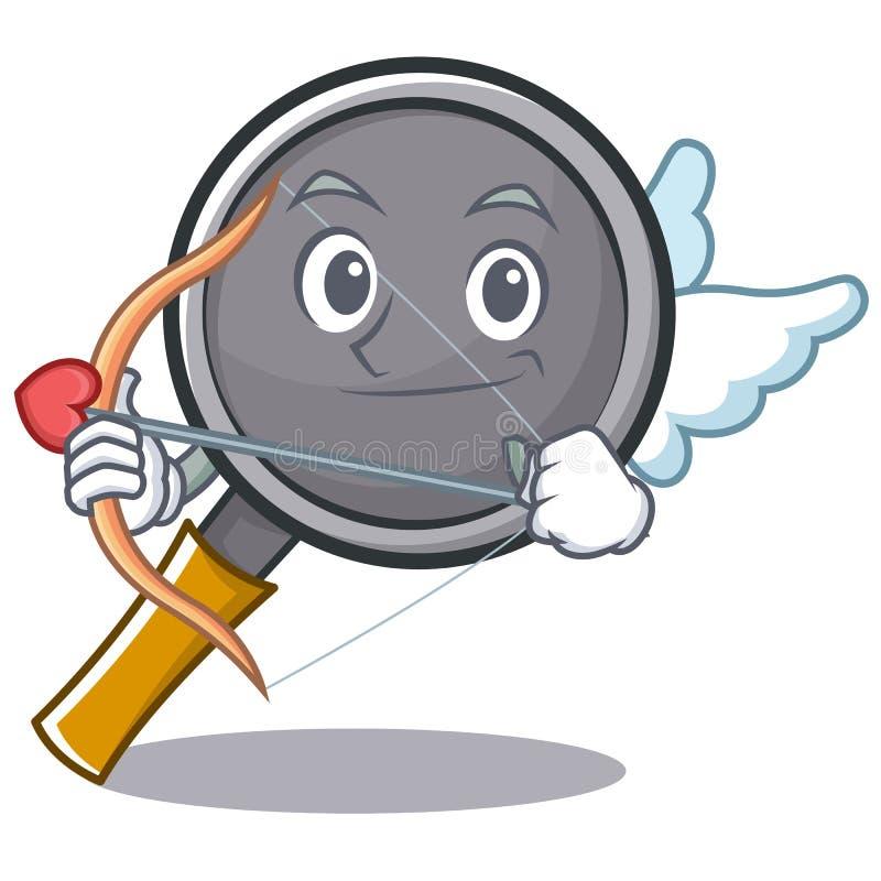 Cupid frying pan cartoon character. Vector illustration stock illustration