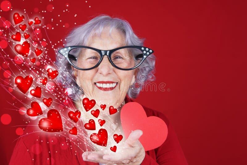 Cupid grandma Valentine`s or love card stock images