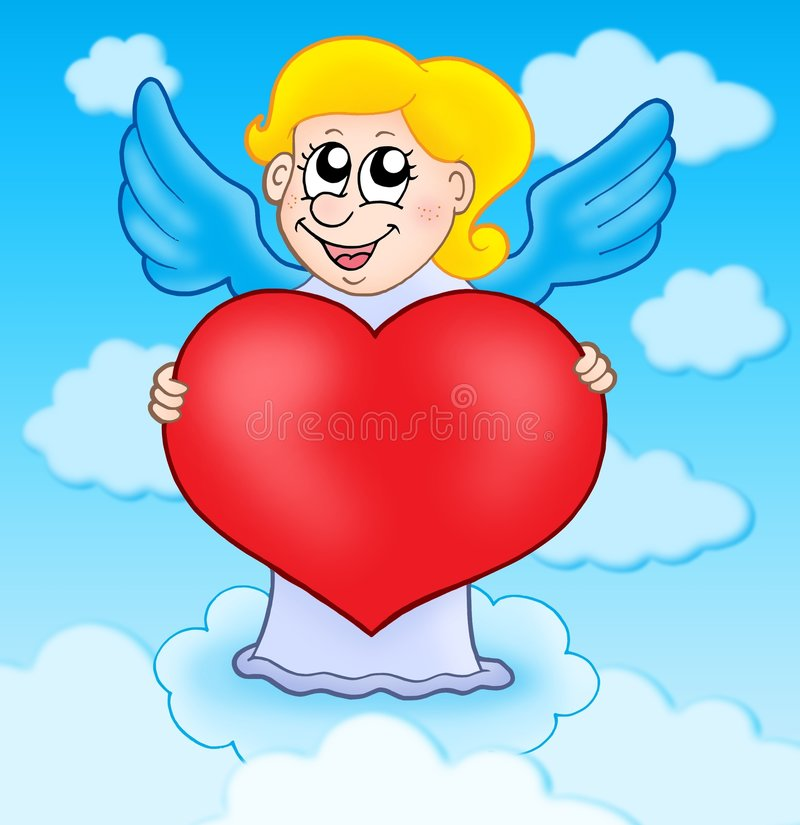 Download Cupid holding heart on sky stock illustration. Illustration of conceptual - 7680590