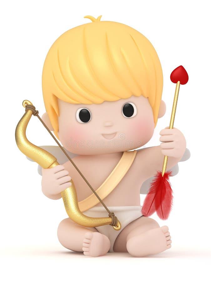 Cupid med bowen och pilen stock illustrationer