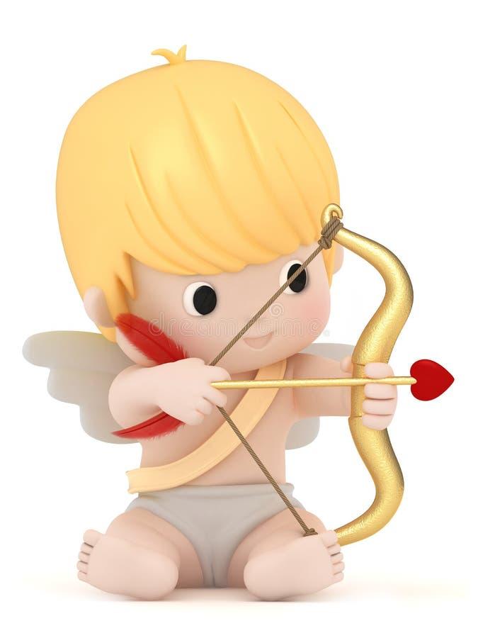 Cupid med bowen och pilen vektor illustrationer