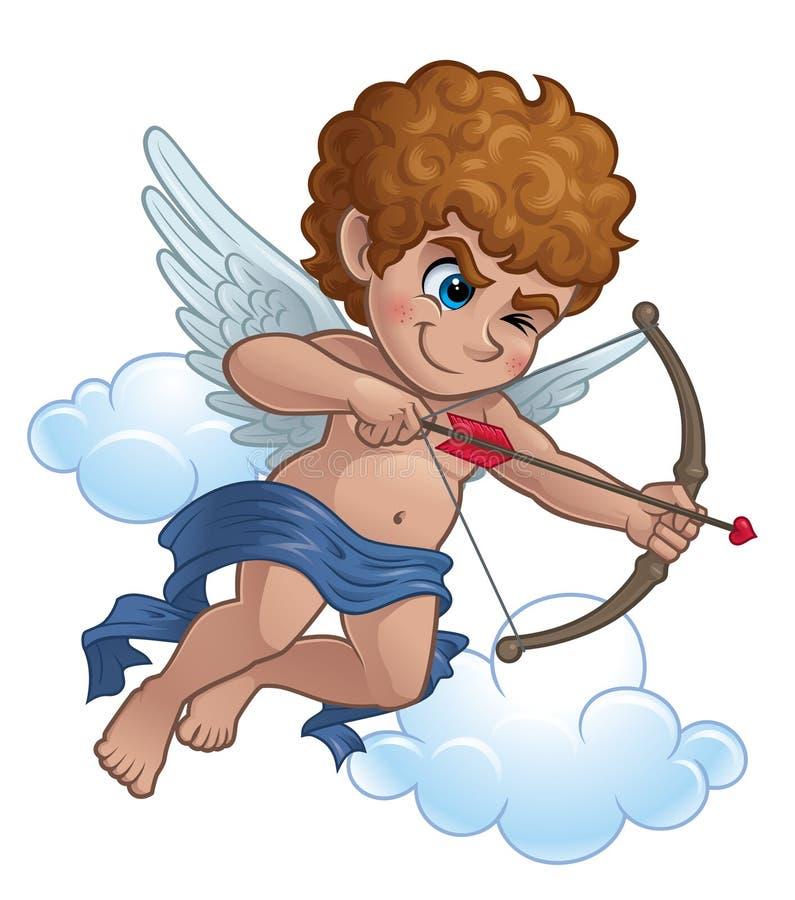Cupid med en pilbåge och en pil royaltyfri illustrationer