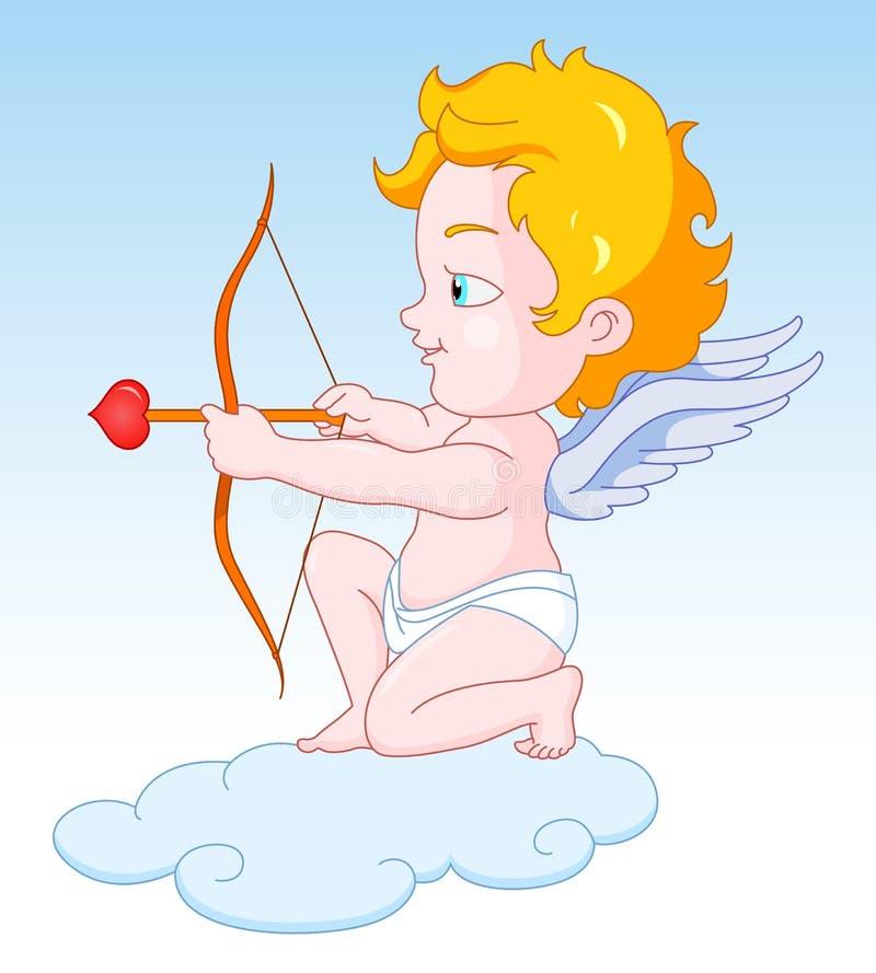 Cupid med pilbågen och pilen vektor illustrationer