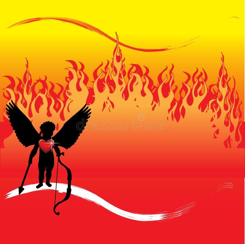 Cupid na frente das flamas ilustração royalty free