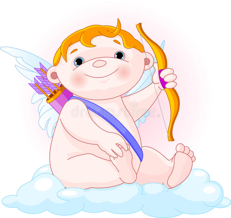 Cupid na nuvem ilustração royalty free