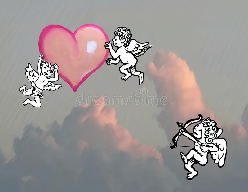 Cupid och hjärta stock illustrationer
