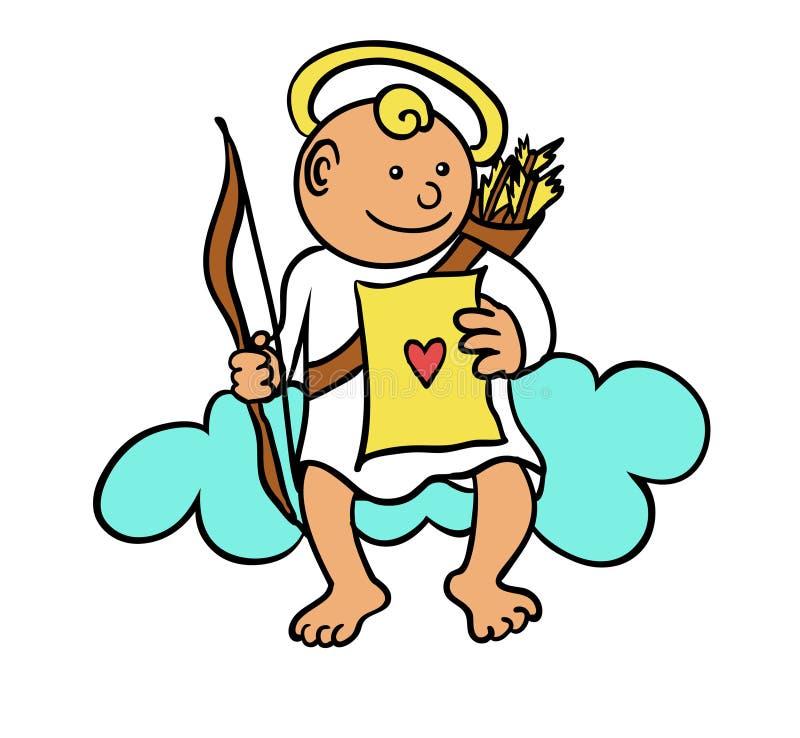 Cupid på en oklarhet royaltyfri illustrationer