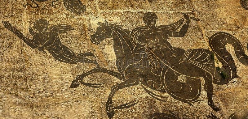 Cupid romano antiguo Ostia Antica Roma del caballo de la mujer imágenes de archivo libres de regalías