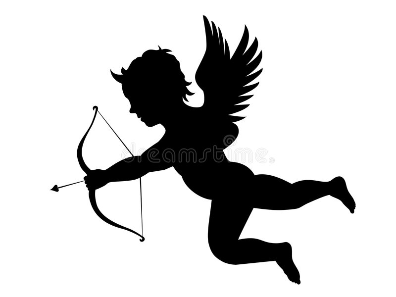 Cupids arrow. Illustration of cupid with bow and arrow