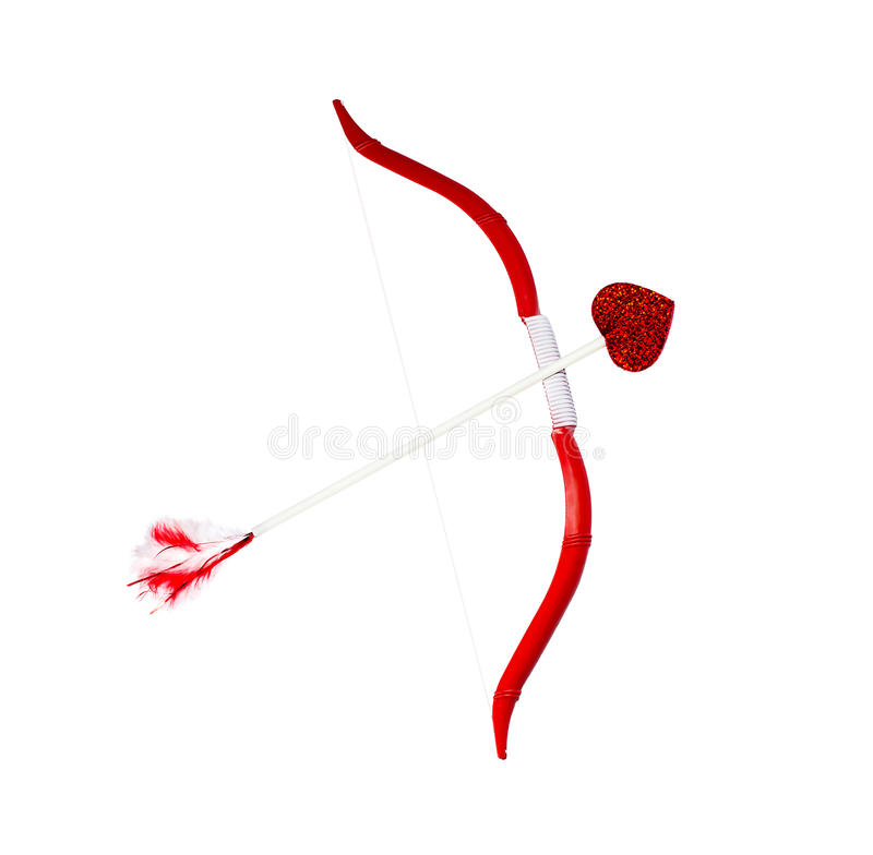Cupid´s bow and arrow. Isolated on white royalty free stock photography