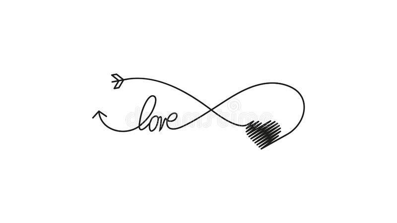 Cupid's pijl in de vorm van een oneindig teken en hart- en tekstliefdespictogram Weddenelement voor mobiel concept en web vector illustratie