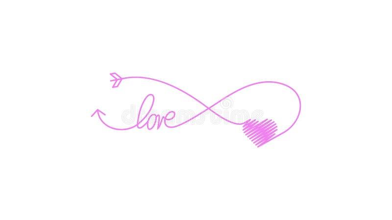 Cupid's pijl in de vorm van een oneindig teken en hart- en tekstliefdespictogram Weddenelement voor mobiel concept en web stock illustratie