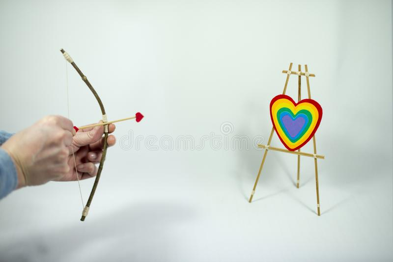 Valentine`s Day, cupid set, shooting up. royalty free stock photography