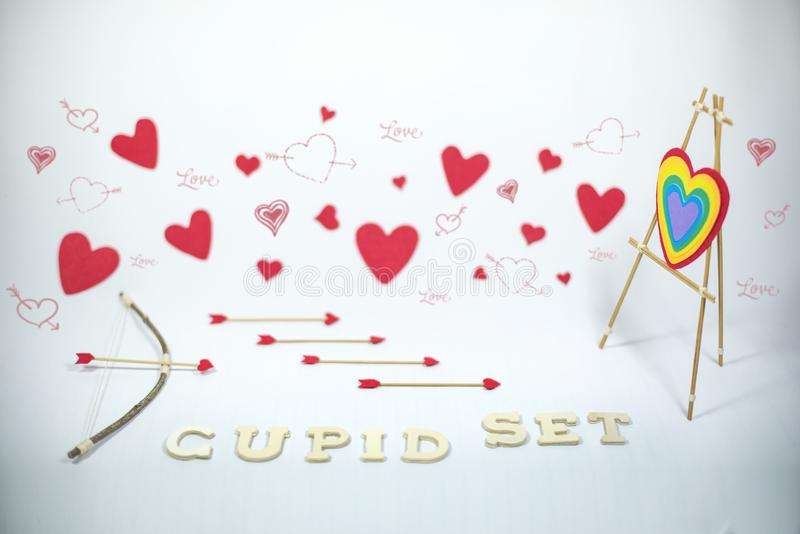 Valentine`s Day, cupid set stock image