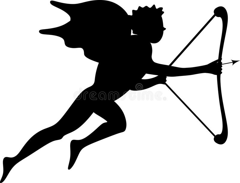 Download Cupid Silhouette stock vector. Image of mythology, drawing - 17755217