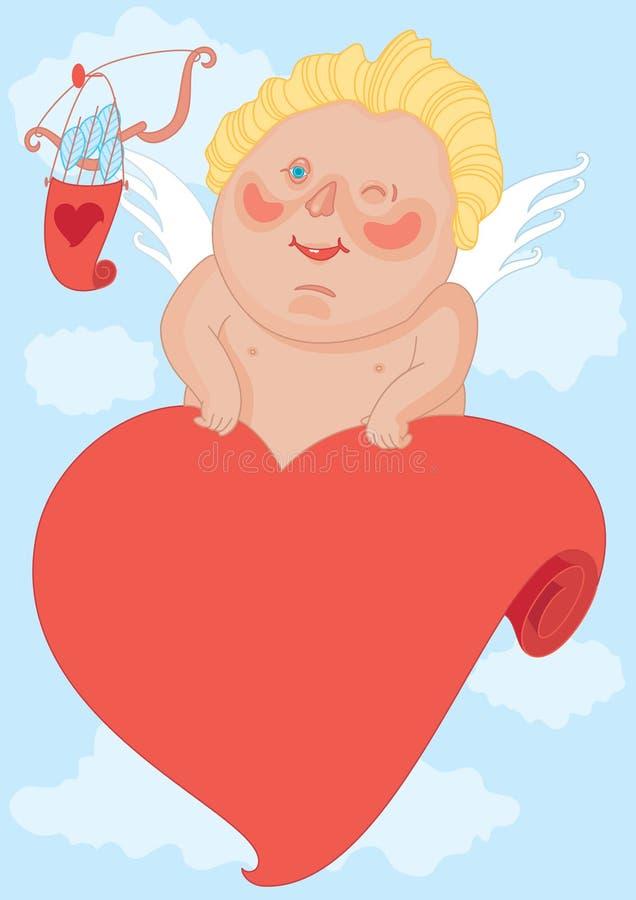 cupid som blinkar stock illustrationer