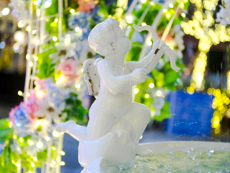 Download The cupid statue fountain. stock photo. Image of little - 83710366