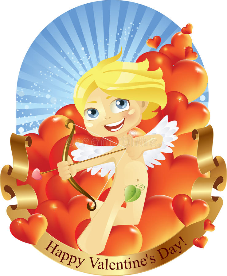 Download Cupid Valentines Day stock vector. Image of ornate, banner - 17563050