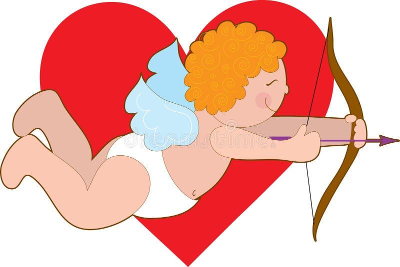 Cupid y corazón ilustración del vector