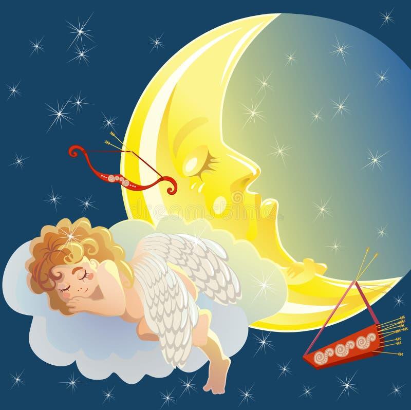 Cupid y luna stock de ilustración