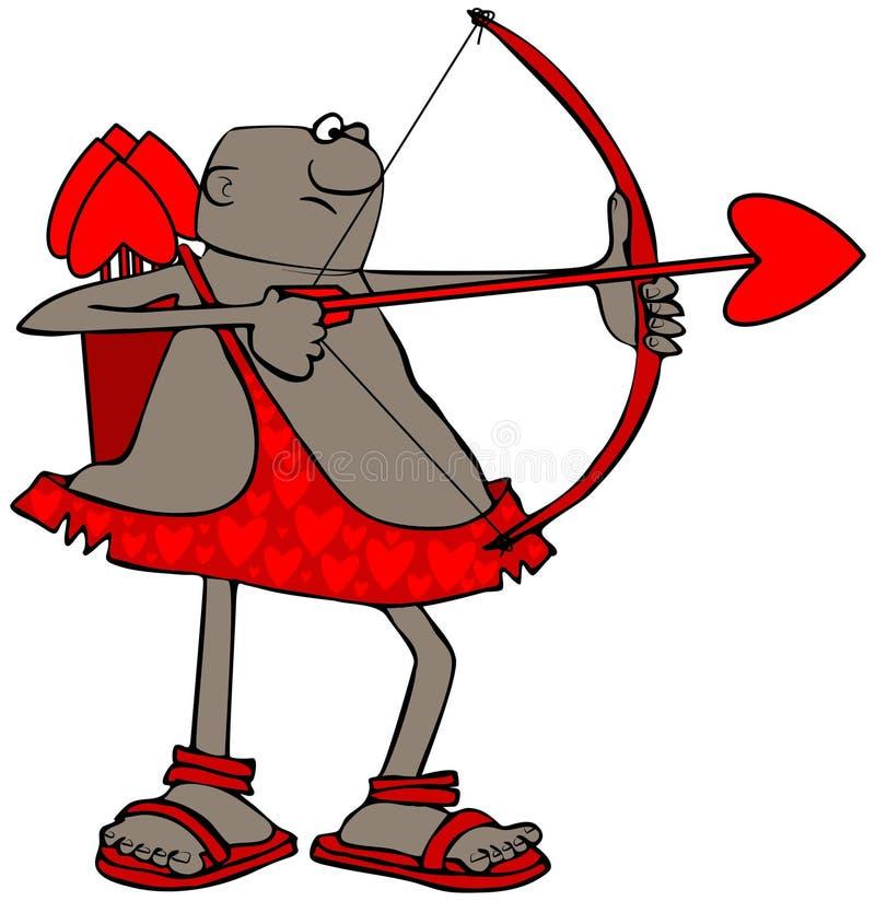 Cupido étnico que aponta sua seta ilustração stock