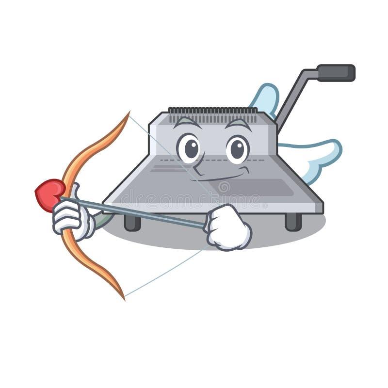 Cupido bindende die machine in de mascotte wordt geïsoleerd vector illustratie