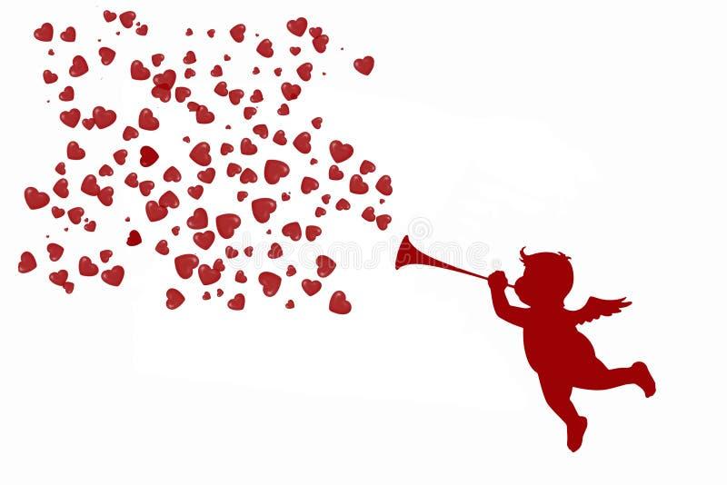 Cupido bonito com uma trombeta e uns corações vermelhos foto de stock royalty free