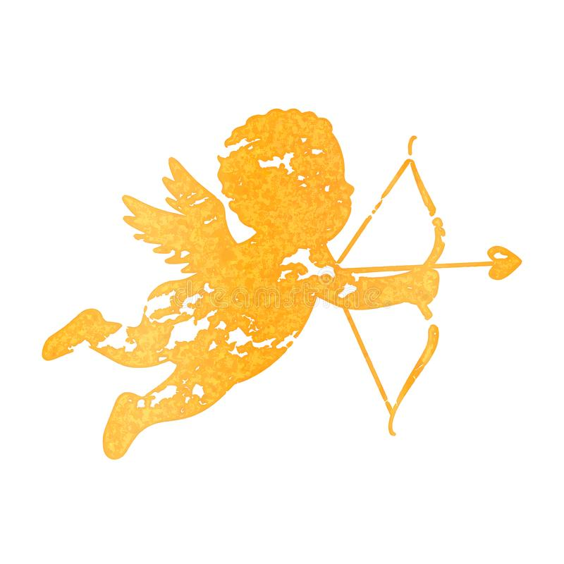 Cupido com curva e seta no estilo do grunge e do vintage Cartão para o dia de Valentim, casamento, acoplamento ilustração do vetor
