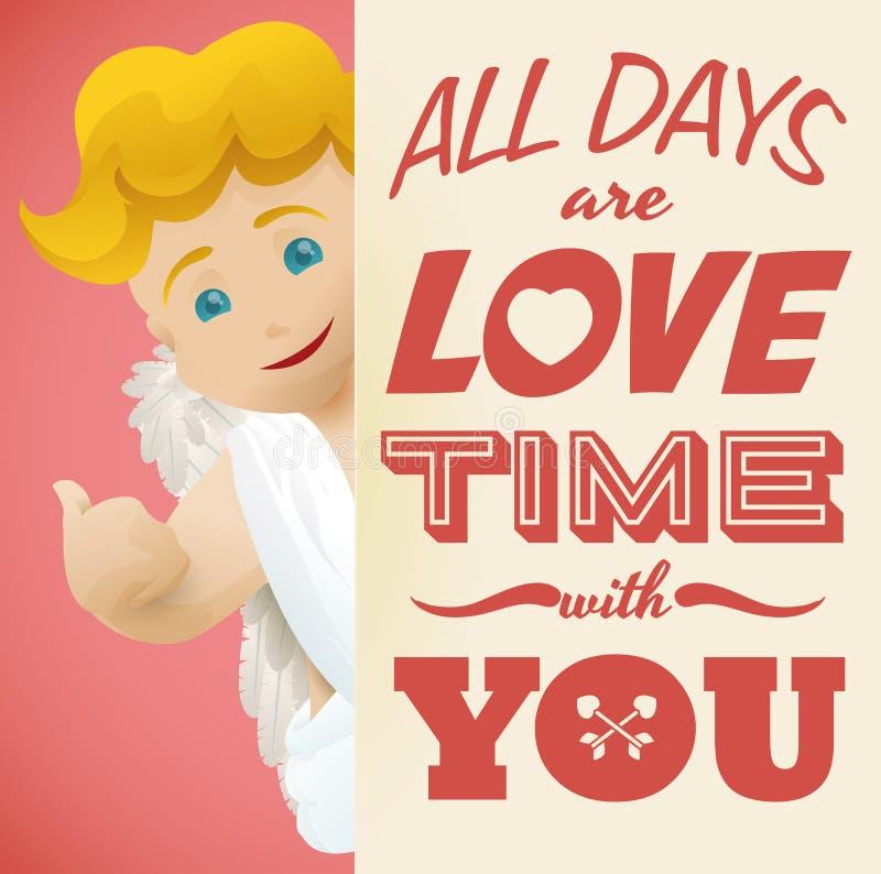 Download Cupido De Sorriso Atrás De Uma Mensagem Do Amor Para O Dia De Valentim, Ilustração Do Vetor Ilustração do Vetor - Ilustração de curva, símbolo: 65581731